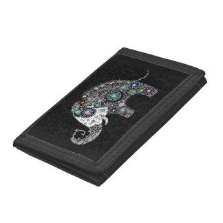 Colorful Retro Floral Elephant Tri-fold Wallet