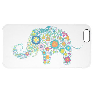 Colorful Retro Floral Elephant White Back Clear iPhone 6 Plus Case