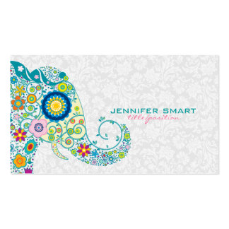 Colorful Retro Floral Elephant & White Damasks Business Card Templates