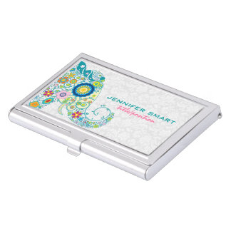 Colorful Retro Floral Elephant & White Damasks Business Card Holder