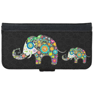 Colorful Retro Floral Elephants iPhone 6 Wallet Case