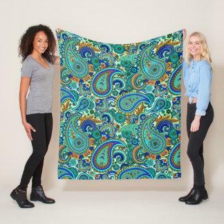 Colorful Retro Floral Paisley Pattern Fleece Blanket