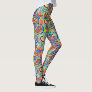 Colorful Retro Floral Paisley Pattern Leggings