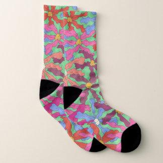 Colorful Retro Floral Print Socks 1