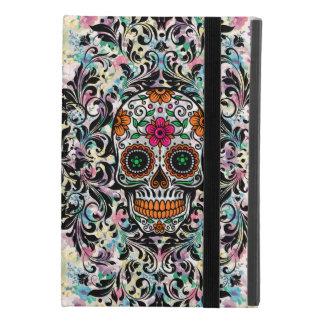 Colorful Retro Floral Sugar Skull & Black Swirls iPad Mini 4 Case