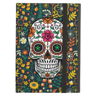 Colorful Retro Floral Sugar Skull Cover For iPad Air