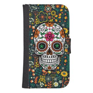 Colorful Retro Floral Sugar Skull Phone Wallet Case