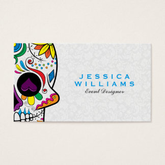 Colorful Retro Floral Sugar Skull & White Damasks Business Card