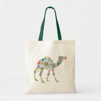Colorful Retro Flower Camel Tote Bag