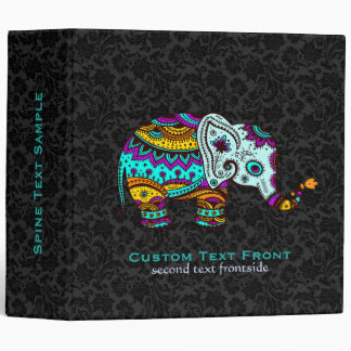 Colorful Retro Flower Elephant Black Background Vinyl Binder