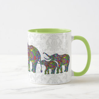 Colorful Retro Flower Elephant Family 2 Mug