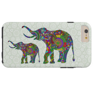 Colorful Retro Flower Elephants Illustration Tough iPhone 6 Plus Case