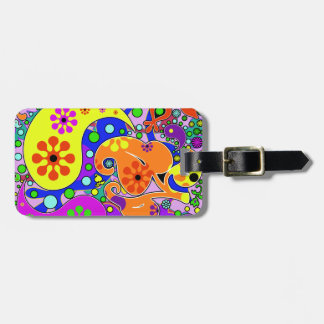 Colorful Retro Flower Paisley Psychedelic Luggage Tag