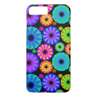 Colorful Retro Flower Patterns on Black Background iPhone 7 Plus Case