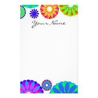 Colorful Retro Flower Patterns on White Background Personalized Stationery