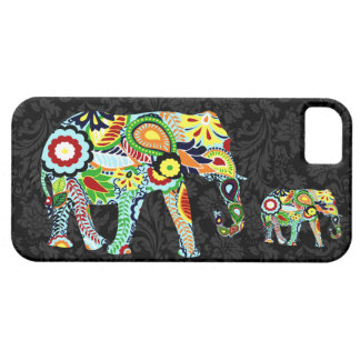 Colorful Retro Flowers Abstrac Elephant iPhone 5 Case