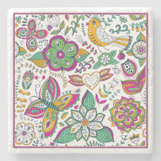 Colorful Retro Flowers Birds & Butterflies Pattern Stone Coaster