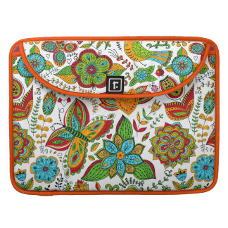 Colorful Retro Flowers Birds & Butterflies Sleeve For MacBook Pro