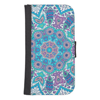 Colorful Retro Flowers Blue Overtones Phone Wallets