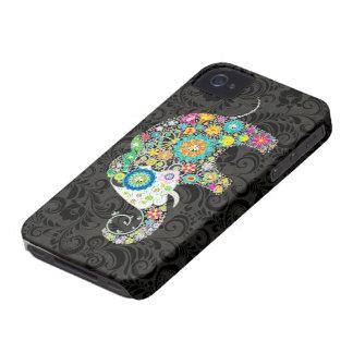 Colorful Retro Flowers Elephant Design iPhone 4 Case-Mate Case