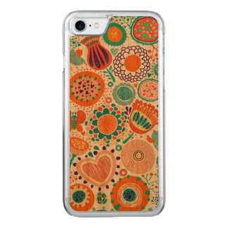 Colorful retro flowers pattern carved iPhone 8/7 case