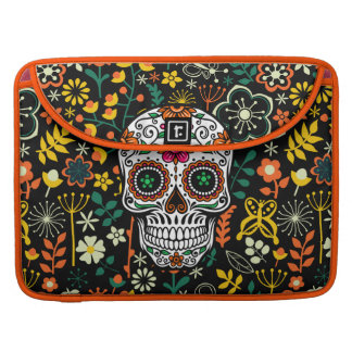 Colorful Retro Flowers & Retro Sugar Skull Sleeve For MacBooks