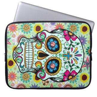 Colorful Retro Flowers Skull 2 Computer Sleeve