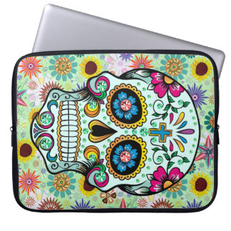 Colorful Retro Flowers Skull 2 Laptop Sleeve