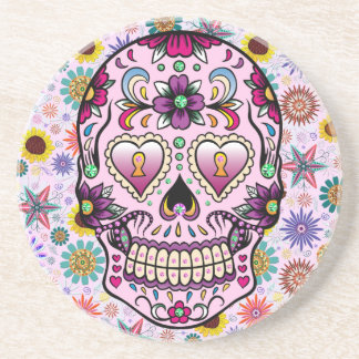 Colorful Retro Flowers Skull Beverage Coaster