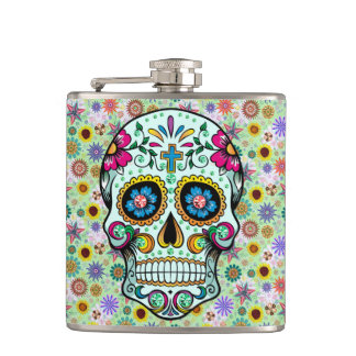 Colorful Retro Flowers Skull Flasks