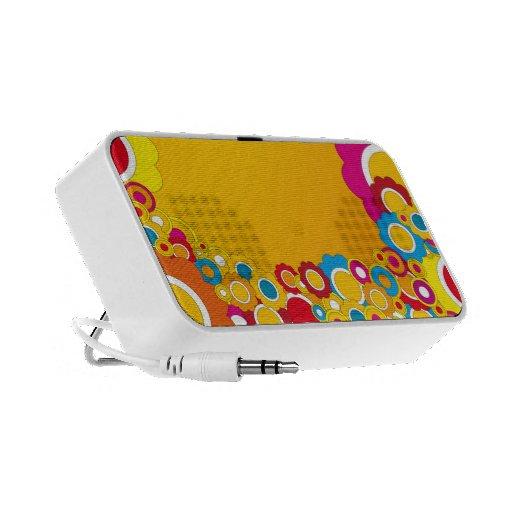 Colorful Retro Flowers Portable Speaker