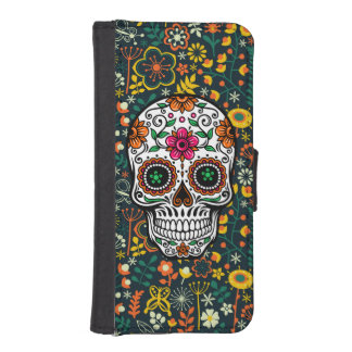Colorful Retro Flowers Sugar Skull iPhone SE/5/5s Wallet Case