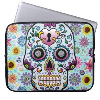 Colorful Retro Flowers Sugar Skull Laptop Computer Sleeves