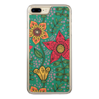 Colorful Retro Flowers Turquoise Background Carved iPhone 7 Plus Case