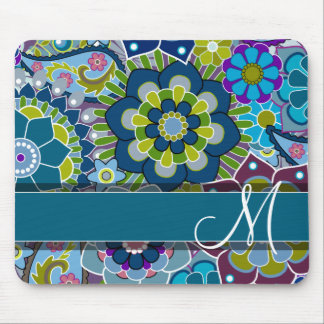 Colorful Retro Flowers with Monogram Mouse Pad