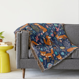 Colorful Retro Foxes And Flowers Pattern Throw