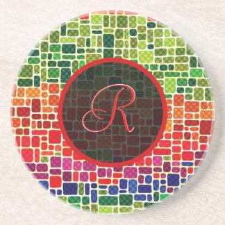 Colorful Retro Geometric Pattern-Monogram Drink Coaster