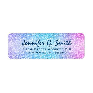 Colorful Retro Glitter And Sparkles Return Address Label
