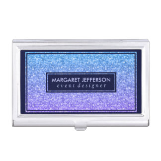 Colorful Retro Glitter & Sparkles Dark Blue Accent Business Card Holder