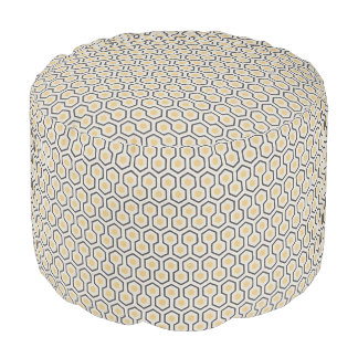Colorful Retro Honeycomb Grid Pattern Pouf