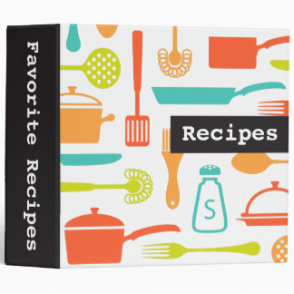 Colorful retro kitchen recipe binder organizer