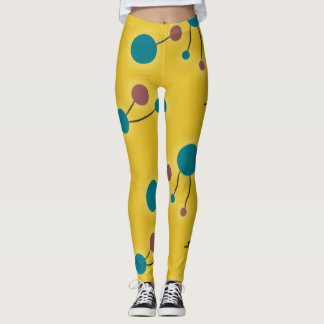 Colorful Retro Large Molecules Universe Red Yellow Leggings