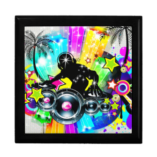 Colorful Retro Music Theme-DJ  Spinning Records Gift Boxes