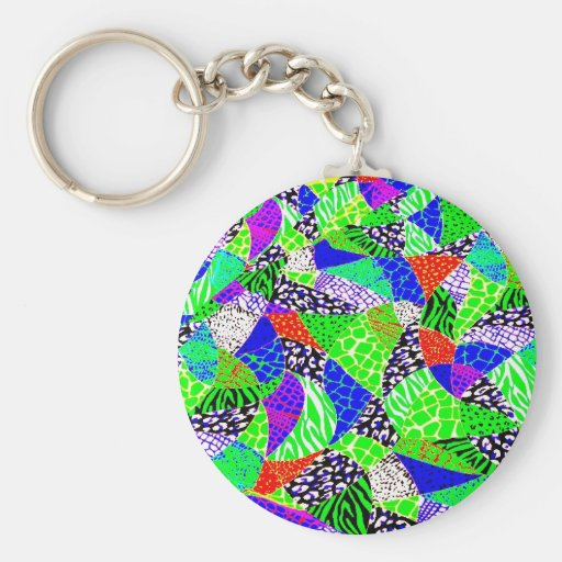Colorful Retro Neon Abstract Patchwork Keychain