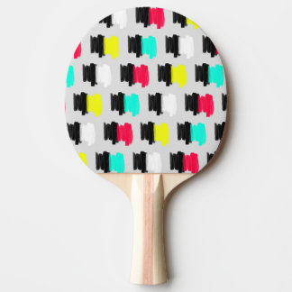 Colorful Retro Painted Brush Stroke Polka Dots Ping Pong Paddle
