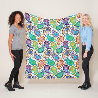 Colorful Retro Paisley Pattern Fleece Blanket