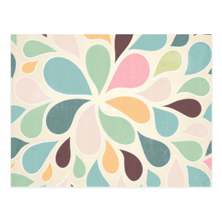 Colorful retro paisley pattern postcard