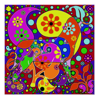 Colorful Retro Paisley Pop Art Dog Poster