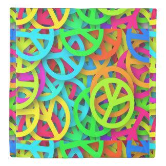Colorful Retro Peace Signs Design Duvet Cover