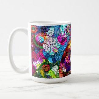 Colorful Retro Romantic Floral Collage Basic White Mug